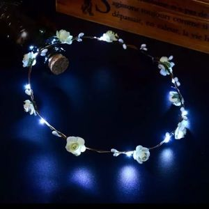 White LED Light Up Festival Wreath Headband